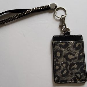 Coach leopard bling wristlet ID cc card holder